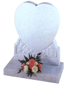 Heart memorial in white marble