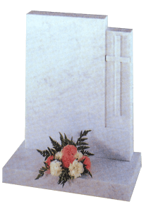 Marble headstone with carved cross